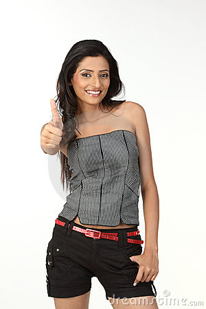Indian girl in challenge action