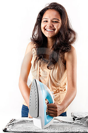 Indian girl and electric steam iron