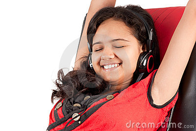 Indian girl enjoying music