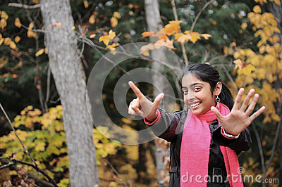 Indian Girl in Fall Season