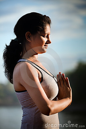 Indian Girl on morning yoga