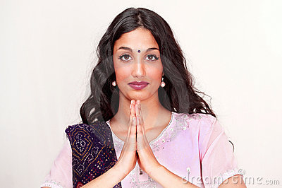 Indian girl namaste greeting