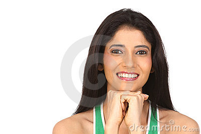 Indian girl  resting her chin on hand