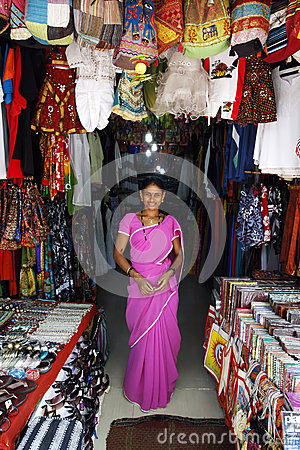 Indian girl standing in her shop Editorial Stock Photo