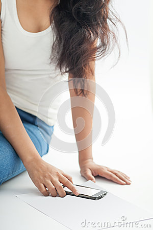 Free Indian Girl With Mobile Smart Phone 2 Royalty Free Stock Image - 28303696
