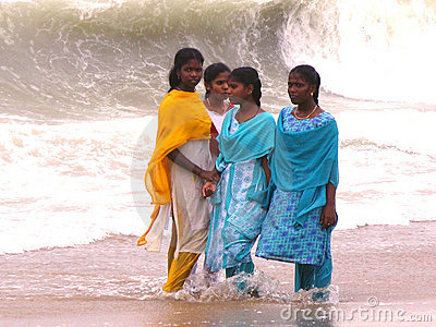 Indian Girls Onshore Ocean Editorial Image