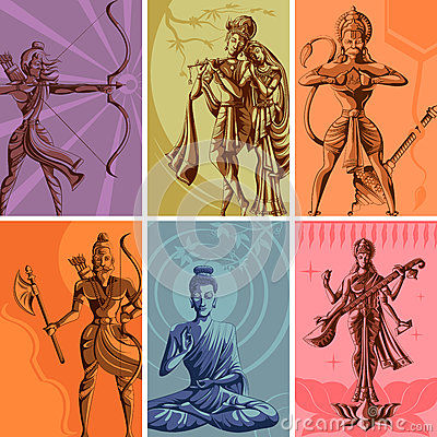 Free Indian God And Goddess Religious Vintage Poster Stock Photos - 77069263
