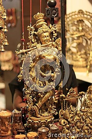 Free Indian God Lord Krishna Handicraft Gold Idol Royalty Free Stock Photos - 23024438
