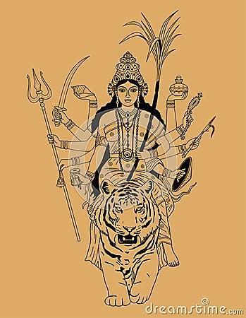 indian goddess durga stock vector image 46693238. Black Bedroom Furniture Sets. Home Design Ideas