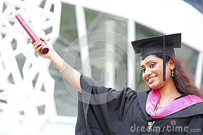 Indian in a graduation gown