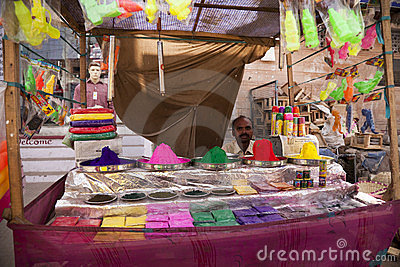 Indian happy man Color full colors of holi Editorial Stock Photo