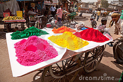 Indian happy man Color full colors of holi Editorial Stock Image