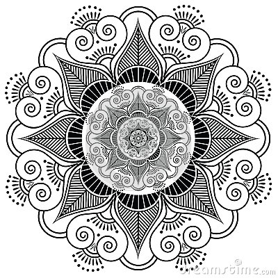 Indian Henna Tattoo Flower Stock Vector - Image: 54111189