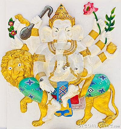 Indian or Hindu God Named Singha Ganapati
