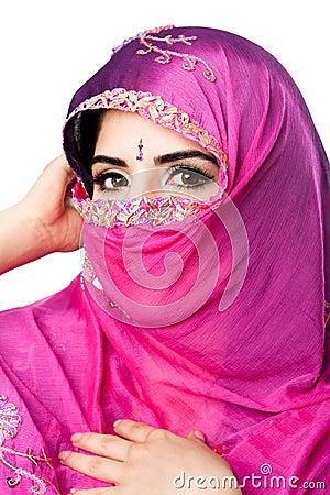 Indian Hindu woman with headscarf