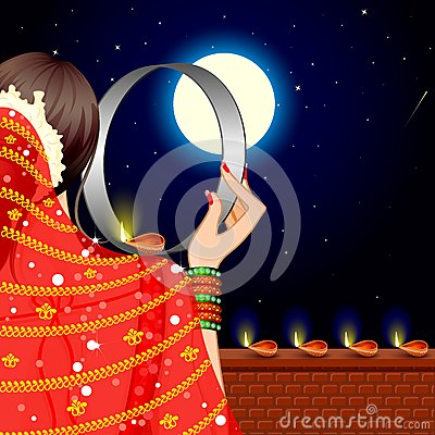 Indian Lady celebrating Karwa Chauth