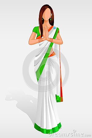 Indian Lady in Indian Flag Sari