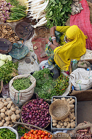 Indian Lady Selling Vegetables
