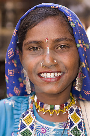 Indian Lady Smiling Editorial Photo
