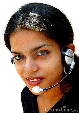 Indian lady wearing headset