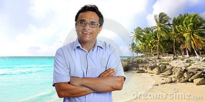 Indian latin tourist man tropical caribbean beach
