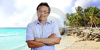 Indian latin tourist man tropical caribbean beach