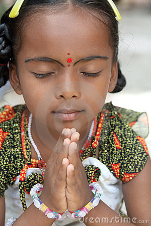 Indian Little Girl Praying