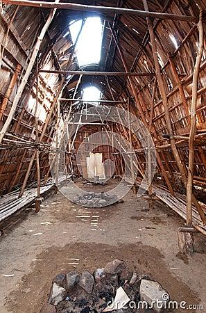 Indian Longhouse Interior Royalty Free Stock Photo Image