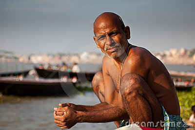 Indian man bathing at the Ganges River Editorial Stock Image