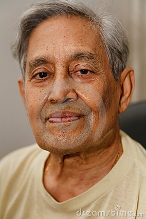 Indian man gray hair