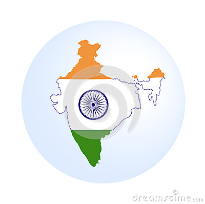 Indian map with flag