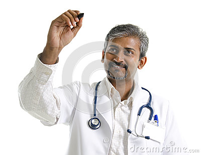 Indian mature doctor drawing / sketching
