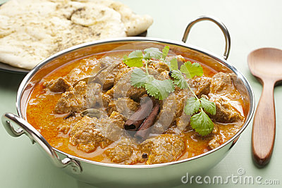 Indian Meal Food Curry Lamb Rogan Josh Naan Bread