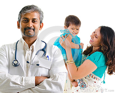 Indian medical doctor and patient family