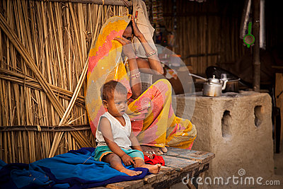 Indian mother and child in tea shop Editorial Photography