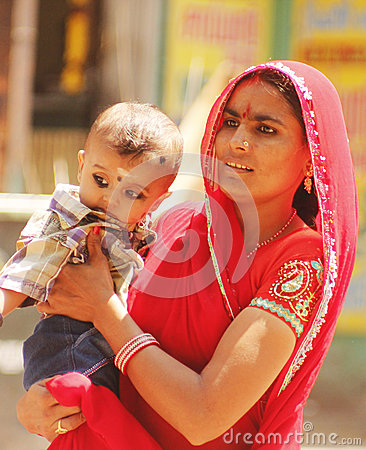 Indian mother with her child Editorial Stock Image