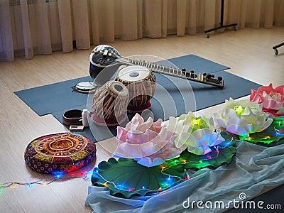 Indian musical instrument, name Mirudangam or Tabla and Sitar. Russia, Saratov - 05 April 2019 Editorial Stock Photo