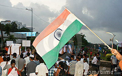 Indian national flag waved during protest rally Editorial Photography