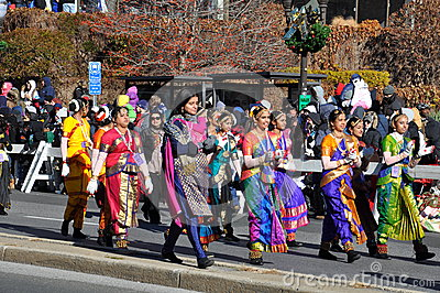 The Indian part of the 20th annual UBS Thanksgiving Parade Spectacular, in Stamford, Connecticut Editorial Stock Image