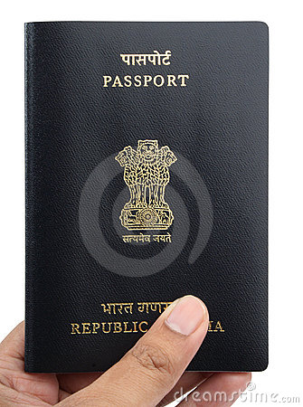 Indian passport in a hand