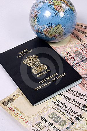 Indian passport with travel money