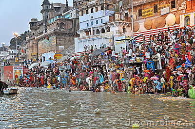 Indian People in Holy Varanasi Editorial Photo