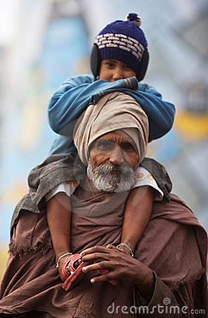 Indian pilgrim and his son Editorial Stock Photo