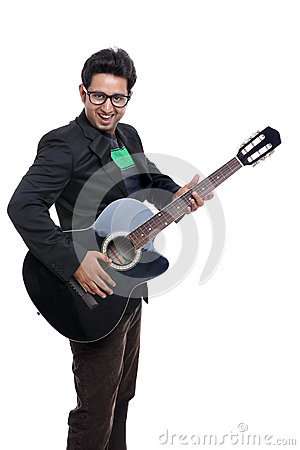 An Indian playing guitar