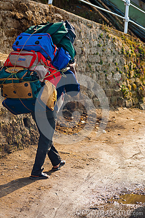 Indian Porter Carrying Heavy Bags Manual Labor Editorial Stock Photo