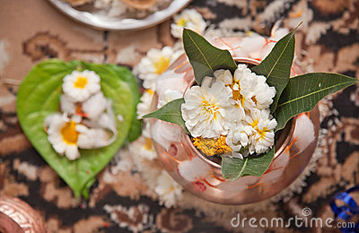 Indian Puja and flowers