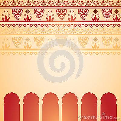 Free Indian Red And Cream Henna Temple Card Stock Photos - 49993673