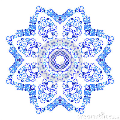 Indian round ornament, kaleidoscopic floral pattern, mandala. Design made in Russian gzhel style and colors Vector Illustration