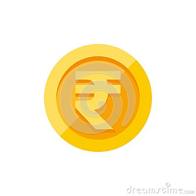 Free Indian Rupees Symbol On Gold Coin Flat Style Stock Photography - 109136122