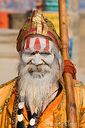 Indian sadhu (holy man). Varanasi, Uttar Pradesh, India. Editorial Image